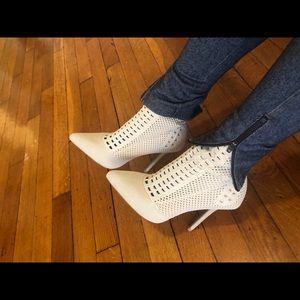 Cream sock heel booties 😍